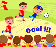 Gracz piłki nożnej zdobywa punkty cel Obraz Stock