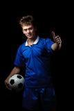 gracz szczęśliwa piłka nożna zdjęcia royalty free