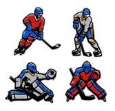 Gracz w hokeja i bramkarzi ustawiający royalty ilustracja