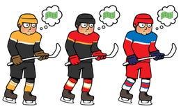 Gracz w hokeja myśleć o pieniądze Fotografia Royalty Free