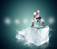 Gracz w hokeja na kostce lodu - twarz moment Fotografia Stock
