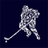 Gracz w hokeja ręki rysunku nakreślenia sztuki projekta kolorowy wektorowy ilustracyjny druk Obraz Royalty Free