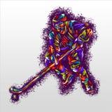 Gracz w hokeja ręki rysunku nakreślenia sztuki projekta kolorowy wektorowy ilustracyjny druk Zdjęcie Royalty Free