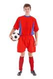 gracz w piłkę piłki nożnej whit obraz stock