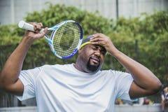 Gracz w tenisa gubi dopasowanie fotografia royalty free