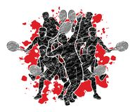 Gracz w tenisa, mężczyzna akcja, drużyna grupowy graficzny wektor ilustracji