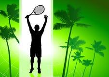 Gracz W Tenisa na Zielonym Tropikalnym tle Zdjęcie Stock