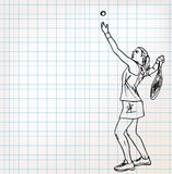 Gracz w tenisa nakreślenia ilustracja Zdjęcia Stock