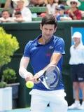 Gracz w tenisa Novak Djokovic narządzanie dla australianu open przy Kooyong Klasycznym Powystawowym turniejem Zdjęcie Royalty Free