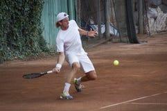 Gracz w tenisa przy międzynarodowym turniejem obraz royalty free