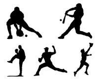 Gracza Baseballa sylwetki, ikony/ Zdjęcie Royalty Free