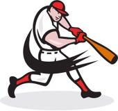 Gracza Baseballa uderzenia kijem Odosobniona kreskówka ilustracja wektor