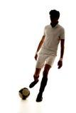 Gracza futbolu wynika cele na białym tle Obraz Royalty Free
