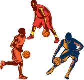 Gracza Koszykówki driblingu Woodcut kolekcja Fotografia Royalty Free