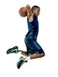 Gracza koszykówki mężczyzna Odizolowywający Obrazy Royalty Free