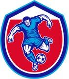 Gracza Piłki Nożnej kopania Działająca piłka Retro ilustracja wektor