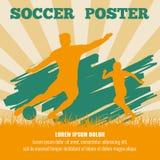 Gracza piłki nożnej wektorowy plakatowy szablon ilustracji