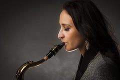 gracza piękny saksofon Zdjęcie Royalty Free