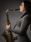 gracza piękny saksofon Obraz Royalty Free
