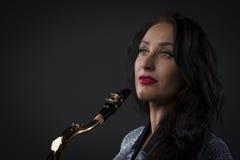 gracza piękny saksofon Zdjęcie Stock