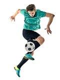 Gracza piłki nożnej mężczyzna jungling odosobnionego białego tło Obrazy Royalty Free