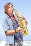 gracza profesjonalisty saksofon Zdjęcie Royalty Free