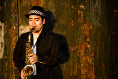 gracza saksofon Zdjęcia Stock