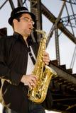 gracza saksofon Fotografia Royalty Free