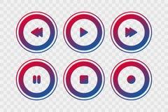Gracza wektoru ikony Gradientowa sztuka, przerwa, rewind, przedni, pauzuje, nagrywa, odosobnionych znaki dla muzyki, guziki, sieć ilustracja wektor