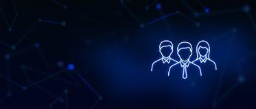 Gracze drużynowi, profesjonaliści, kierownicy, korporacyjna grupa, ikona, Kontaktują się my, strona internetowa sztandar, tło zdjęcia royalty free