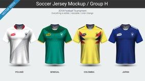 Gracze futbolu mundurują, drużyna narodowa. piłki nożnej bydło 2018 grupowy H royalty ilustracja