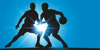 Gracze koszykówki twarz w twarz podczas meczu koszykówki ilustracja wektor