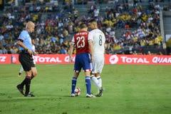 Gracze piłki nożnej dyskutuje podczas Copa Ameryka Centenario Fotografia Stock