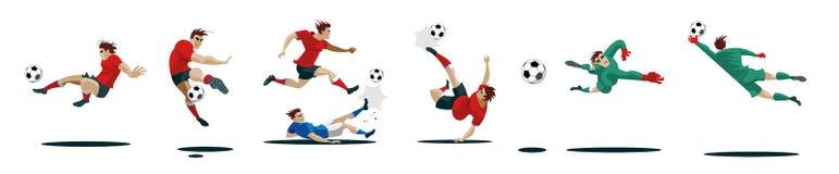 Gracze Piłki Nożnej Kopie piłkę i bramkarzów Ustawia kolekcję różne pozy ilustracji