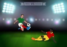 Gracze piłki nożnej Mexico versus Cameroon Zdjęcie Stock