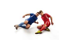 Gracze piłki nożnej w akci na odosobnieniu Fotografia Royalty Free
