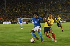 Gracze piłki nożnej Willian i Jefferson Montero 7 walczy dla i Obrazy Royalty Free