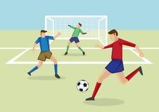 Gracze Piłki Nożnej i bramkarz w boisko do piłki nożnej kreskówki Wektorowej bolączce Obrazy Stock
