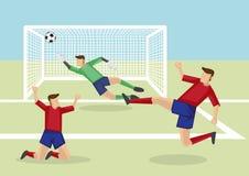 Gracze Piłki Nożnej Zdobywa punkty cel zwycięstwo Wektorowa kreskówka Illustrati Zdjęcie Stock