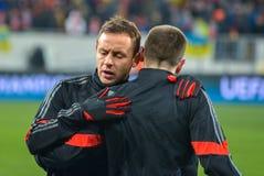 Gracze przed dopasowaniem FC Shakhtar-FC Bayern UEFA Wstawia się Liga Obraz Royalty Free