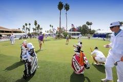 Gracze przy praktyką przy ANA inspiracją grać w golfa turniej 2015 Fotografia Stock