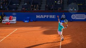 Gracze w Barcelona Otwieraj?, roczny tenisowy turniej dla m?skiego fachowego gracza zdjęcia royalty free