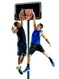 Graczów koszykówki mężczyzna Odizolowywający Obraz Stock