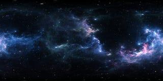 360-Grad-Abstandsnebelfleckpanorama, equirectangular Projektion, Umweltkarte Kugelförmiges Panorama HDRI Nächtlicher Himmel mit v