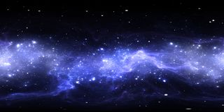 360-Grad-Abstandsnebelfleckpanorama, equirectangular Projektion, Umweltkarte Kugelförmiges Panorama HDRI Nächtlicher Himmel mit v lizenzfreie abbildung