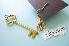 Grad cap key Royalty Free Stock Image