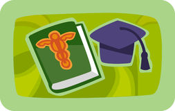 A grad cap and medical journal Royalty Free Stock Photo