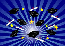 Grad Caps on Blue Radial Royalty Free Stock Image