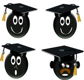 Grad class icons in 3d. Humorous grad glass icons in 3d on white Royalty Free Stock Photos