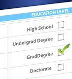 Grad degree education level survey Royalty Free Stock Image